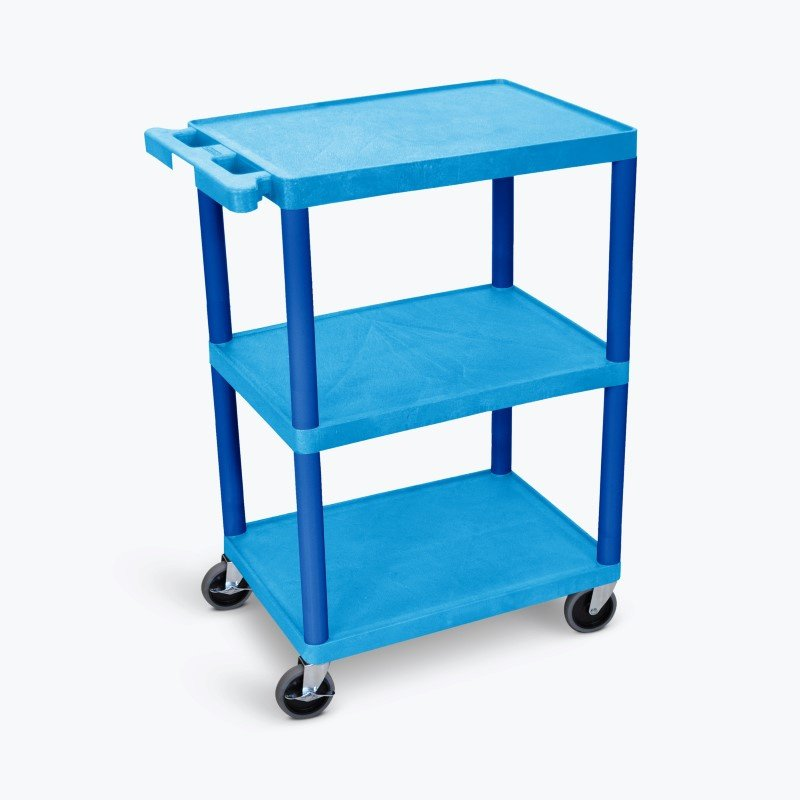 Luxor Flat Shelf Cart - Three Shelves in Blue (BUSTC222BU)