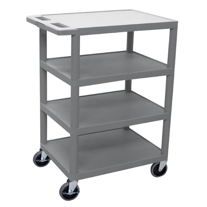Luxor Four Flat Shelf Gray Utility Cart (BC45-G)