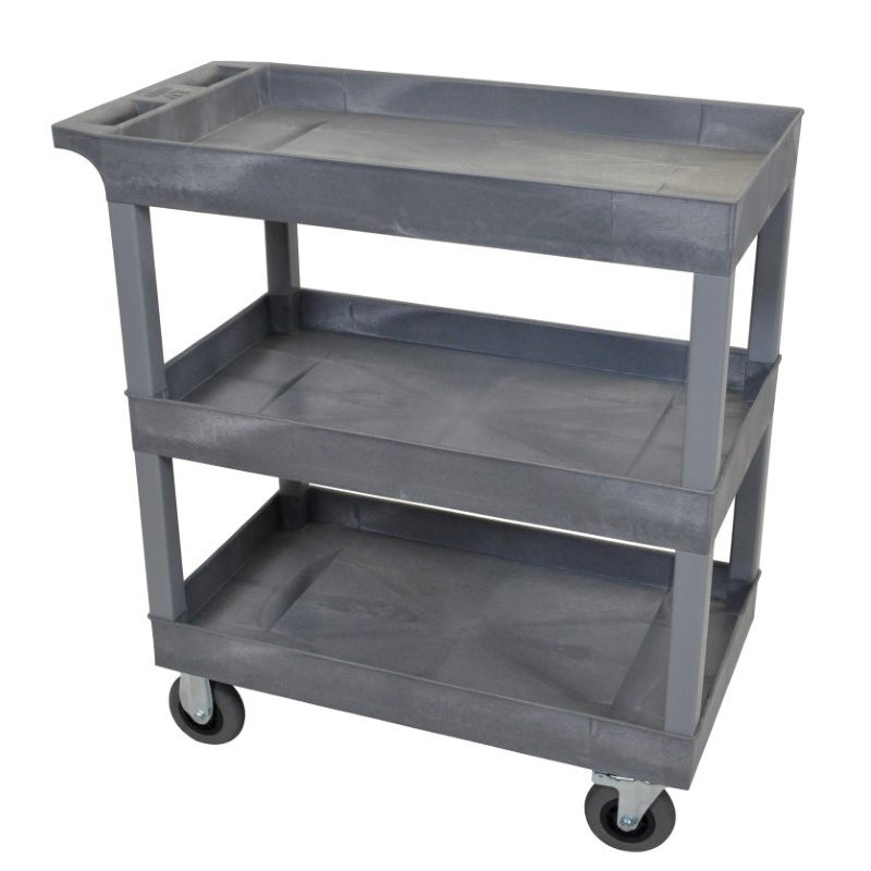 Luxor Gray 18x32 3 Tub Cart with SP5 Casters (EC111SP5-G)