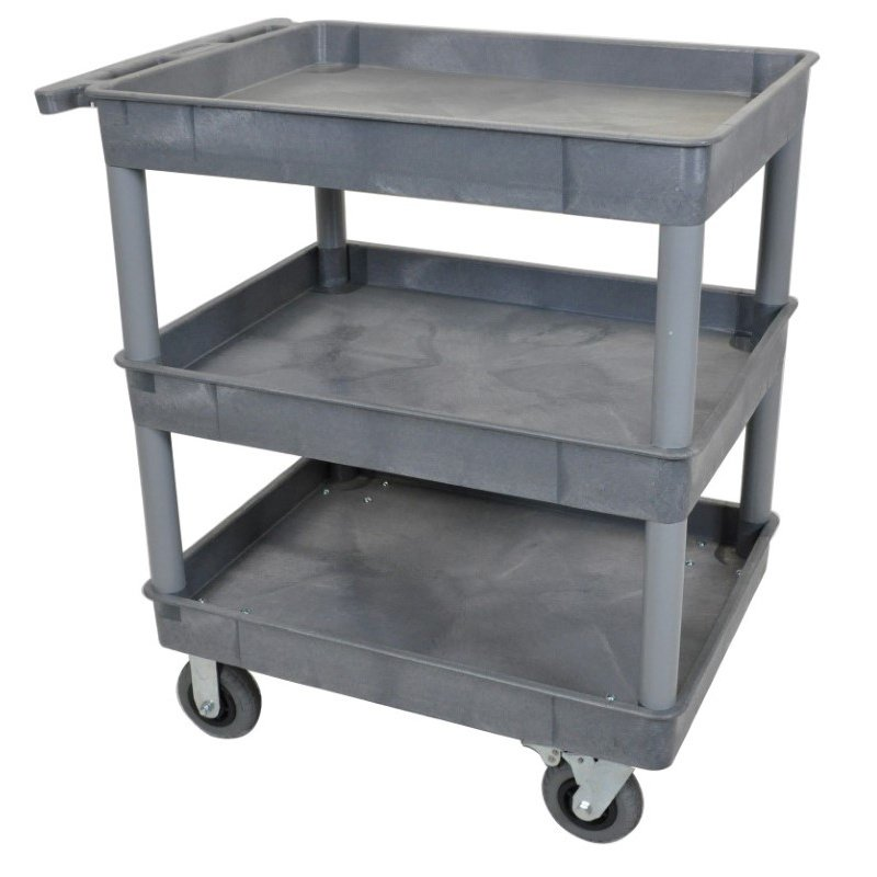 Luxor Gray 24x32 3 Tub Cart with SP6 Casters (TC111SP6-G)