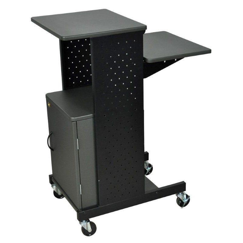 Luxor Gray 4 Shelf Mobile Presentation Station with Cabinet (PS4000C)