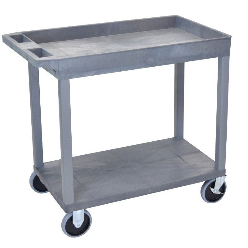 Luxor Gray EC12HD 18x32 Cart 1 Tub with 1 Flat Shelf (EC12HD-G)