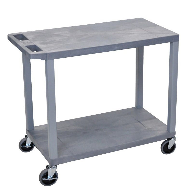 Luxor Gray EC22 18x32 Cart with 2 Flat Shelves (EC22-G)