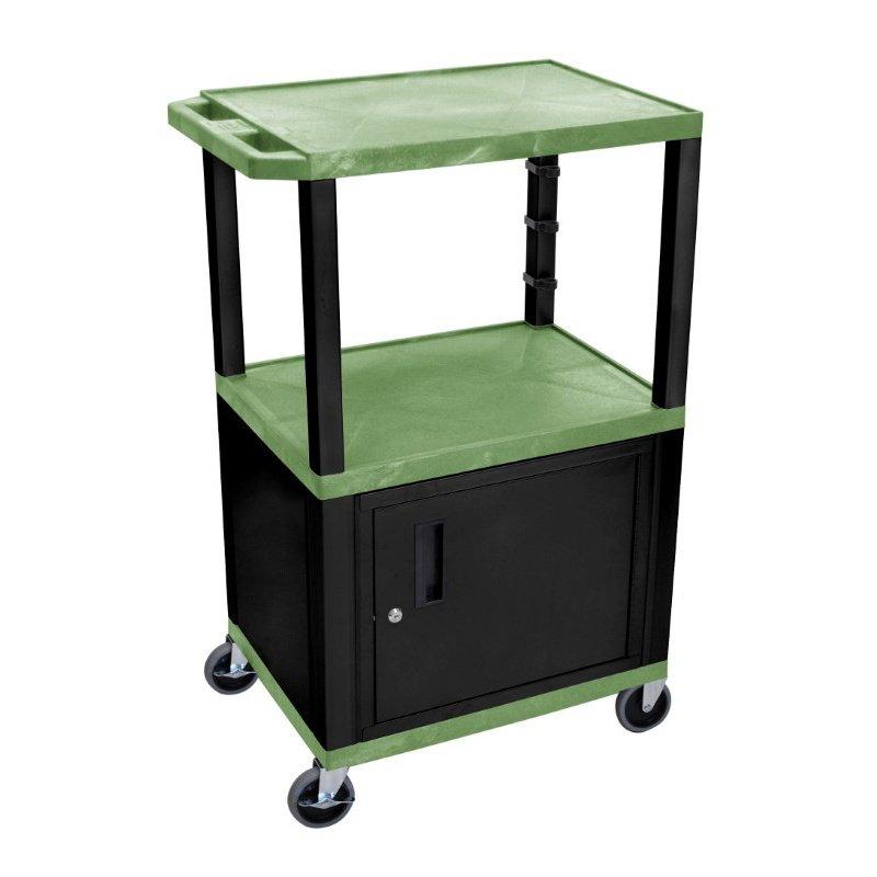 "Luxor Green Tuffy 3 Shelf 42"" AV Cart with Black Legs - Cabinet & Electric (WT42GC2E-B)"