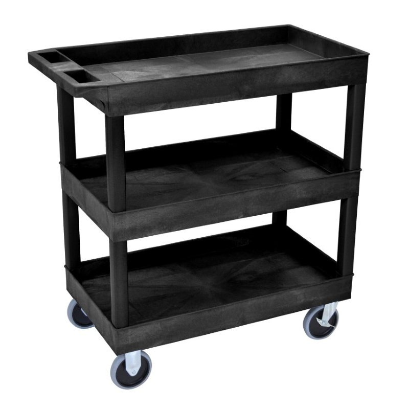 Luxor HD High Capacity 3 Tub Shelves Cart in Black (EC111HD-B)