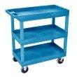 Luxor HD High Capacity 3 Tub Shelves Cart in Blue (EC111HD-BU)