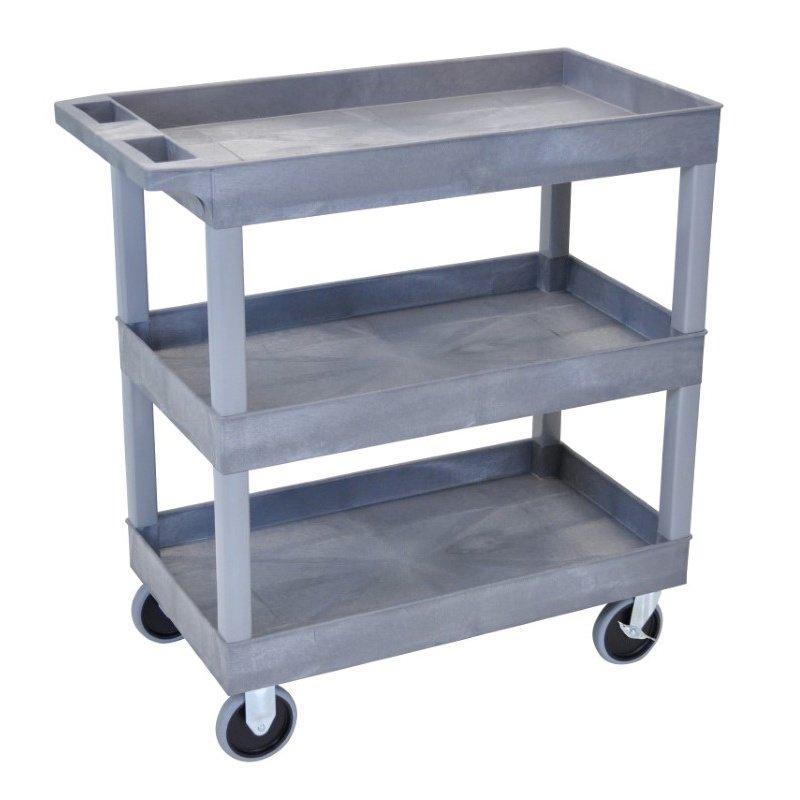 Luxor HD High Capacity 3 Tub Shelves Cart in Gray (EC111HD-G)
