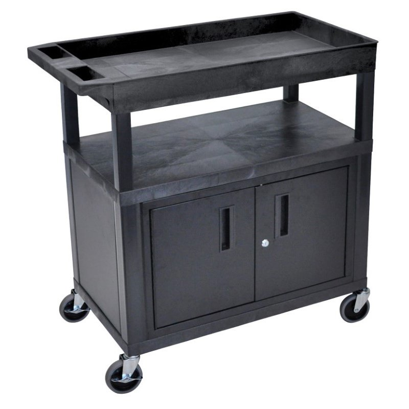 Luxor High Capacity 2 Flat and 1 Tub Shelf Cart with Cabinet & Electric in Black (EC122CE-B)