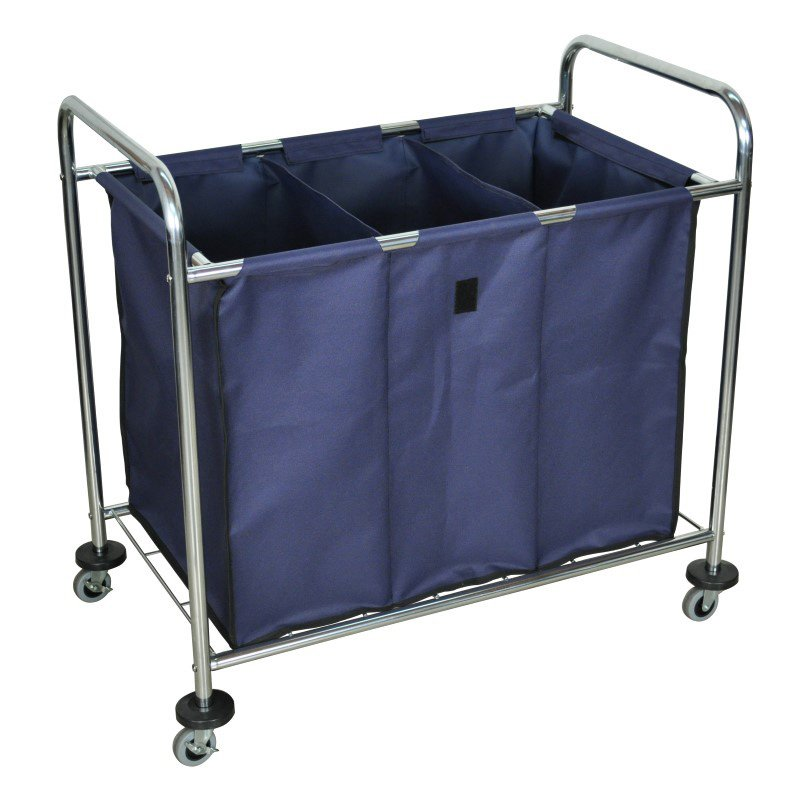 Luxor Industrial Laundry Cart with Steel Frame & Navy Canvas Bag with Dividers (HL15)