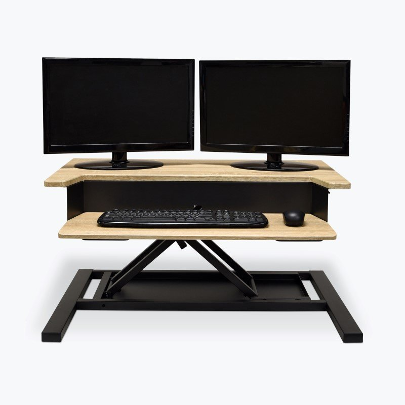 Luxor LVLUP PRO32-WO- Level Up 32 Pro Standing Desk Converter in Charcoal / White Oak