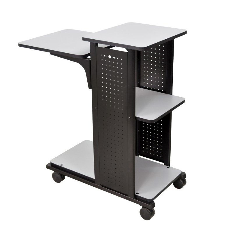 Luxor Mobile Presentation Stand With 4 Gray Shelves (WPS4)