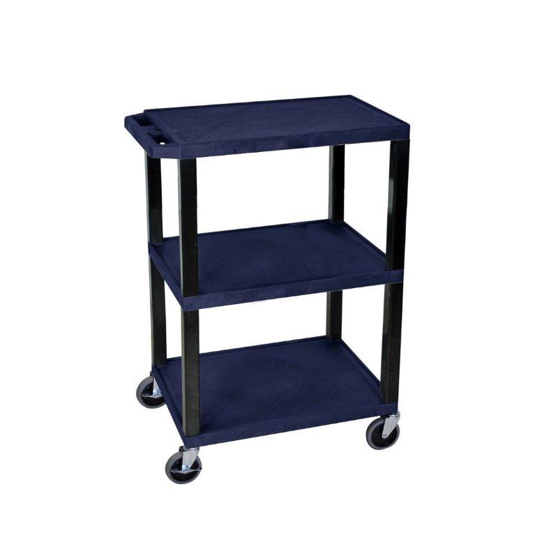 Luxor Navy Blue 3 Shelf Specialty Utility Cart (WT34ZS)