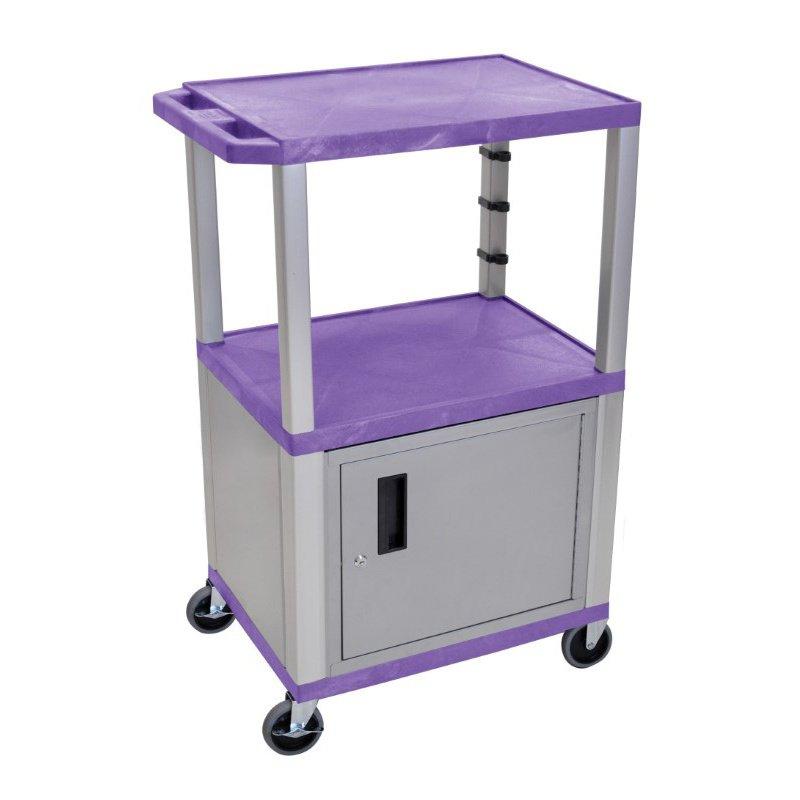 "Luxor Purple Tuffy 3 Shelf 42"" AV Cart with Nickel Legs - Cabinet & Electric (WT42PC4E-N)"