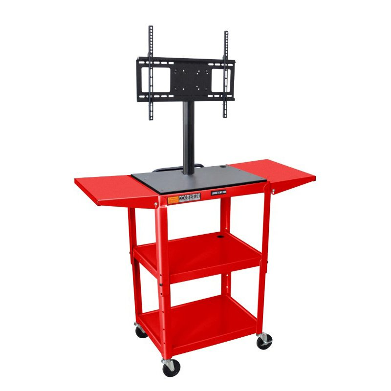 """Luxor Red 42"""" Adj Height Cart with Drop Leaf Shelves & LCD Mount (AVJ42DL-LCD-RD)"""