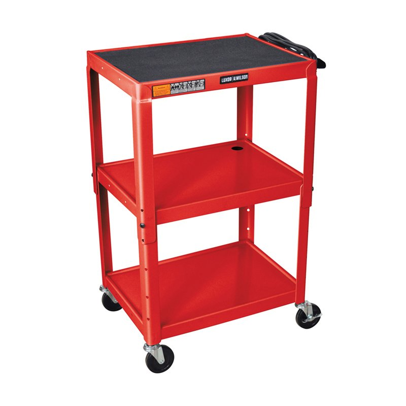 Luxor Red Metal 3 Shelf Presentation Cart with Electric (W42ARE)