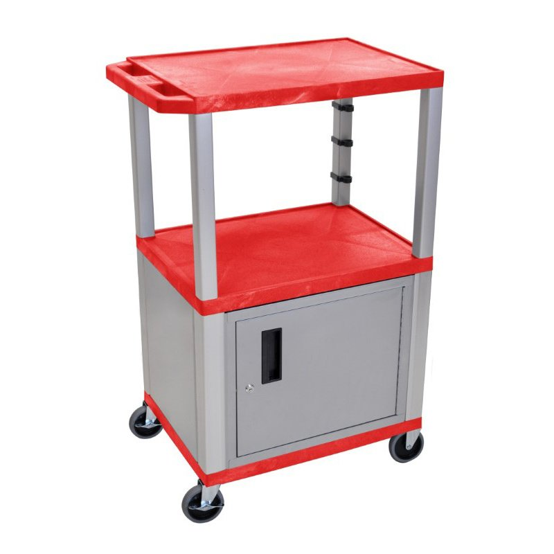 "Luxor Red Tuffy 3 Shelf 42"" AV Cart with Nickel Legs - Cabinet & Electric (WT42RC4E-N)"