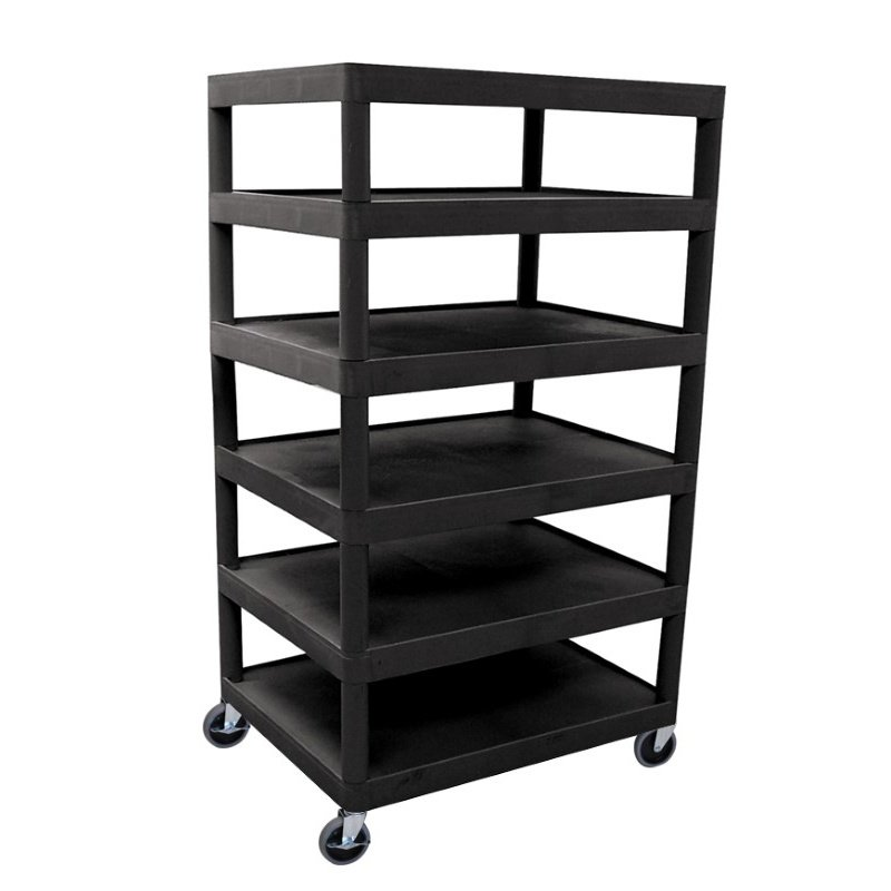 Luxor Six Flat Shelf Black Utility Cart (BC60-B)