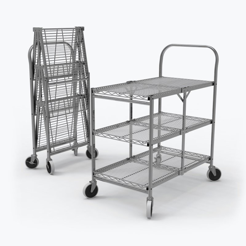 Luxor Three-Shelf Collapsible Wire Utility Cart in Silver (WSCC-3)