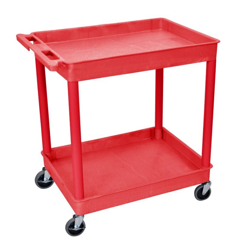 Luxor Tub Cart Red 2 Shelf (RDTC11RD)