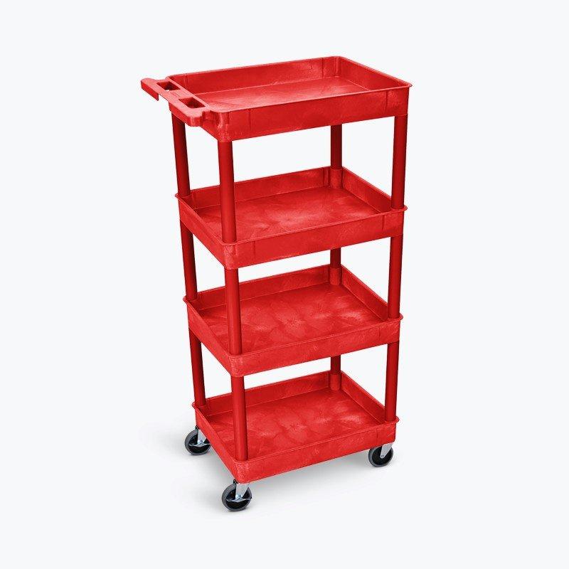 Luxor Tub Shelf Cart - Four Shelves in Red (RDSTC1111RD)
