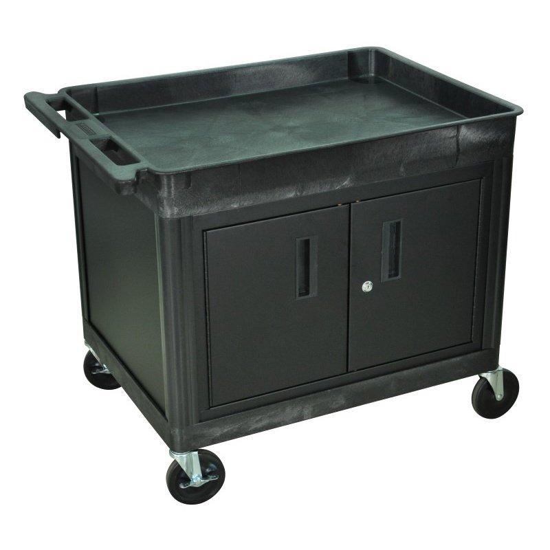 Luxor Tub Top Shelf Utility Cart with Cabinet (TC12C-B)