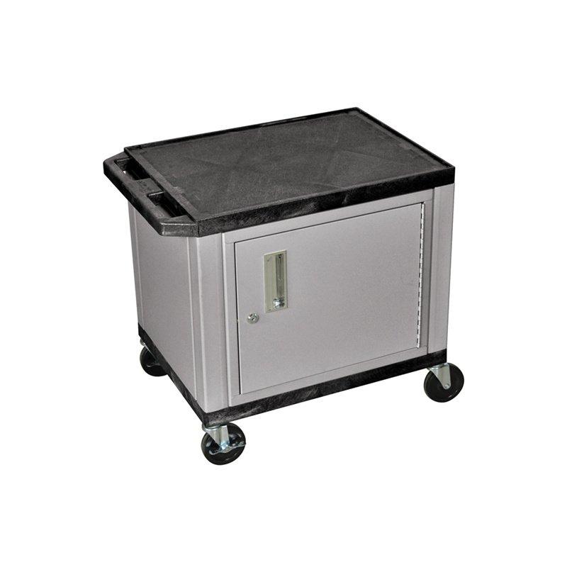 Luxor Tuffy Black 2 Shelf AV Cart with Nickel Cabinet & Electric (WT26C4E-N)