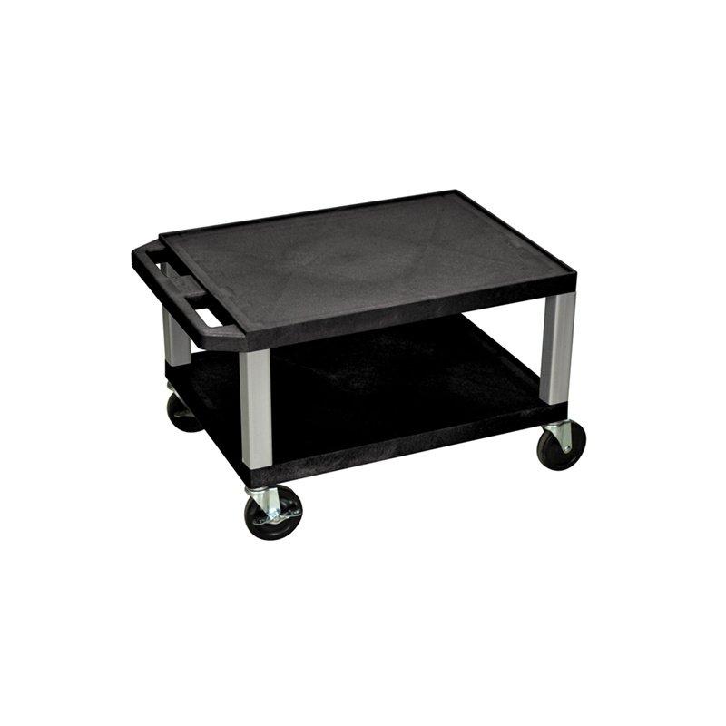 Luxor Tuffy Black 2 Shelf AV Cart with Nickel Legs & Electric (WT16E-N)