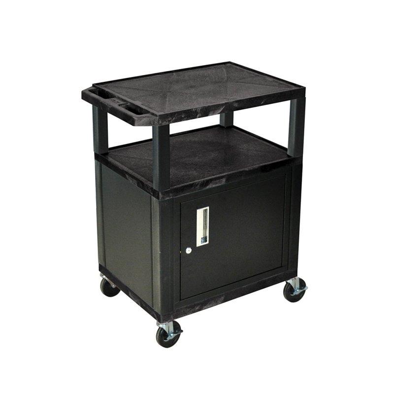 Luxor Tuffy Black 3 Shelf AV Cart with Cabinet & Electric (WT34C2E)