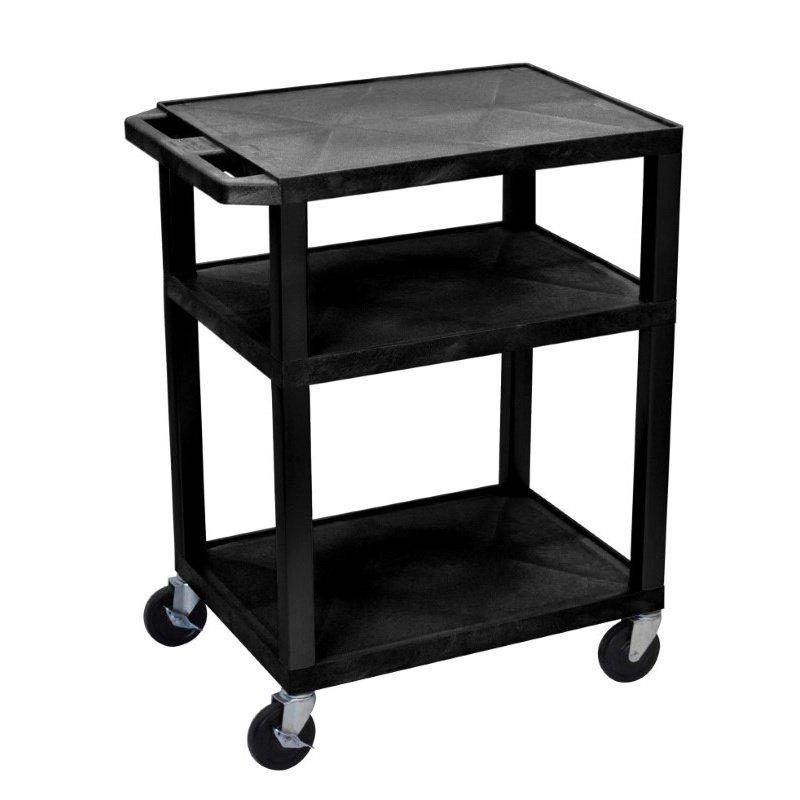Luxor Tuffy Black 3 Shelf AV Cart with Electric (WT34E)