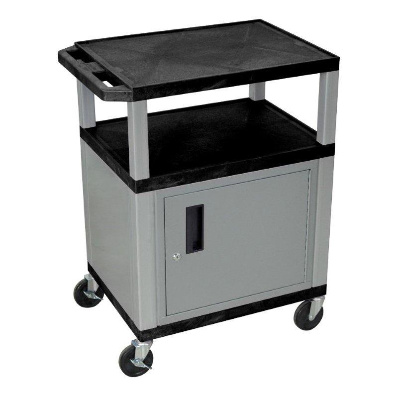 Luxor Tuffy Black 3 Shelf AV Cart with Nickel Legs & Cabinet (WT34C4E-N)