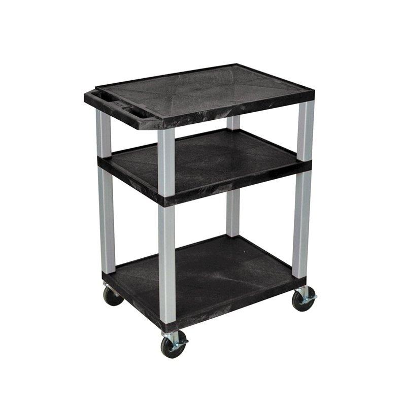 Luxor Tuffy Black 3 Shelf AV Cart with Nickel Legs & Electric (WT34E-N)