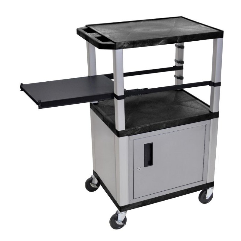 Luxor Tuffy Black 3 Shelf & Nickel Legs - Cabinet & Black Side Pull-out Shelf & Electric (WTPSP42C4E-N)