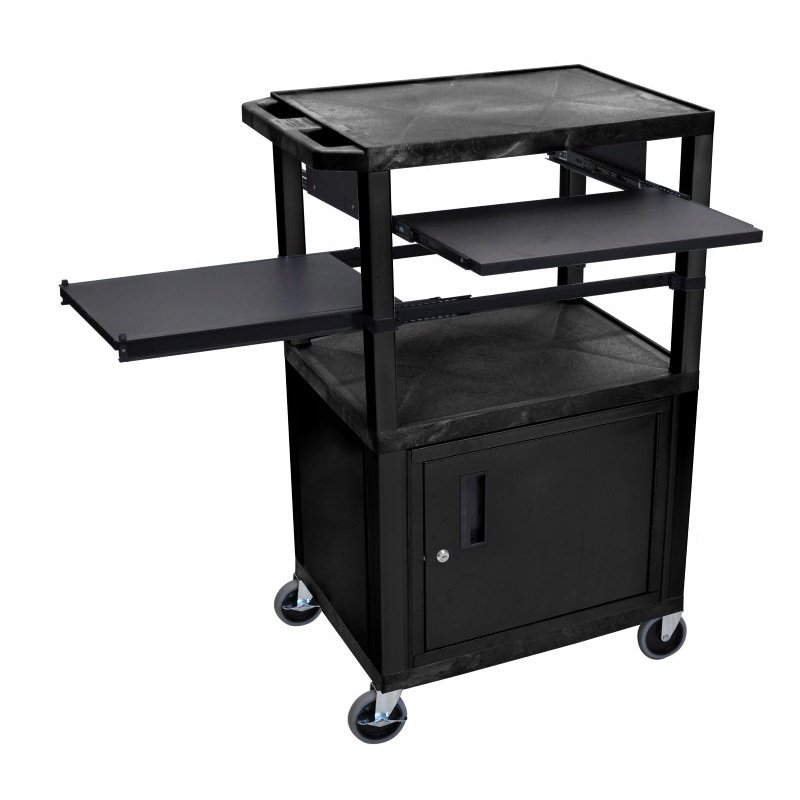 Luxor Tuffy Black 3 Shelf with Black Legs - Cabinet & Front & Side Pull-out Shelves & Electric (WTPSLP42C2E-B)