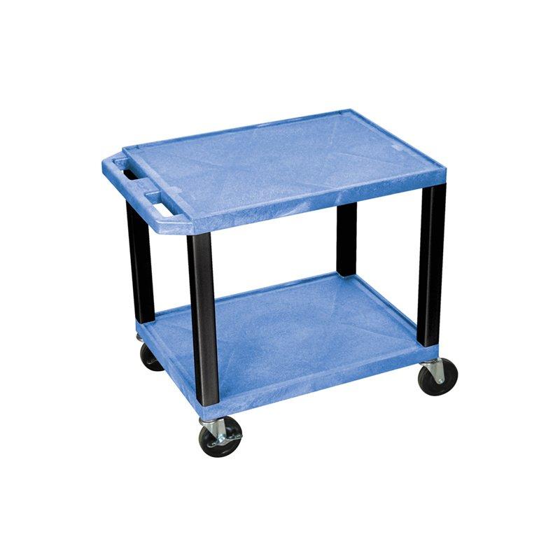 Luxor Tuffy Blue 2 Shelf AV Cart with Black Legs & Electric (WT26BUE-B)