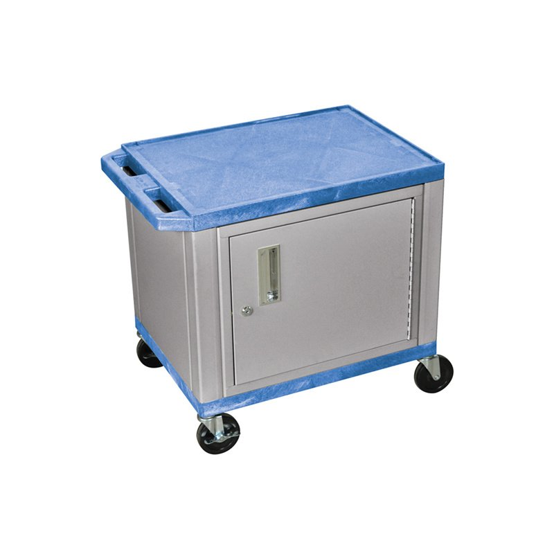 Luxor Tuffy Blue 2 Shelf AV Cart with Nickel Legs & Cabinet (WT26BUC4E-N)