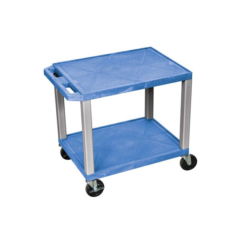 Luxor Tuffy Blue 2 Shelf AV Cart with Nickel Legs & Electric (WT26BUE-N)