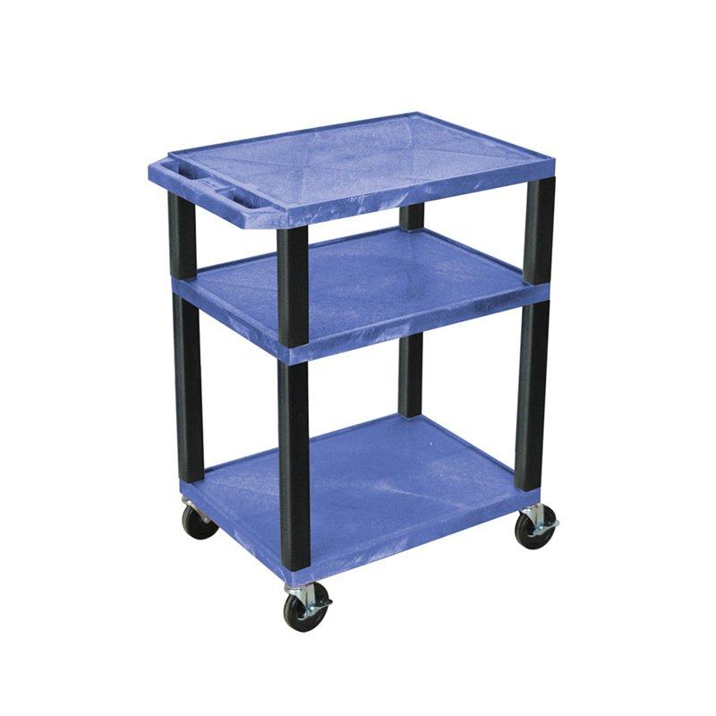 Luxor Tuffy Blue 3 Shelf AV Cart with Black Legs & Electric (WT34BUE-B)
