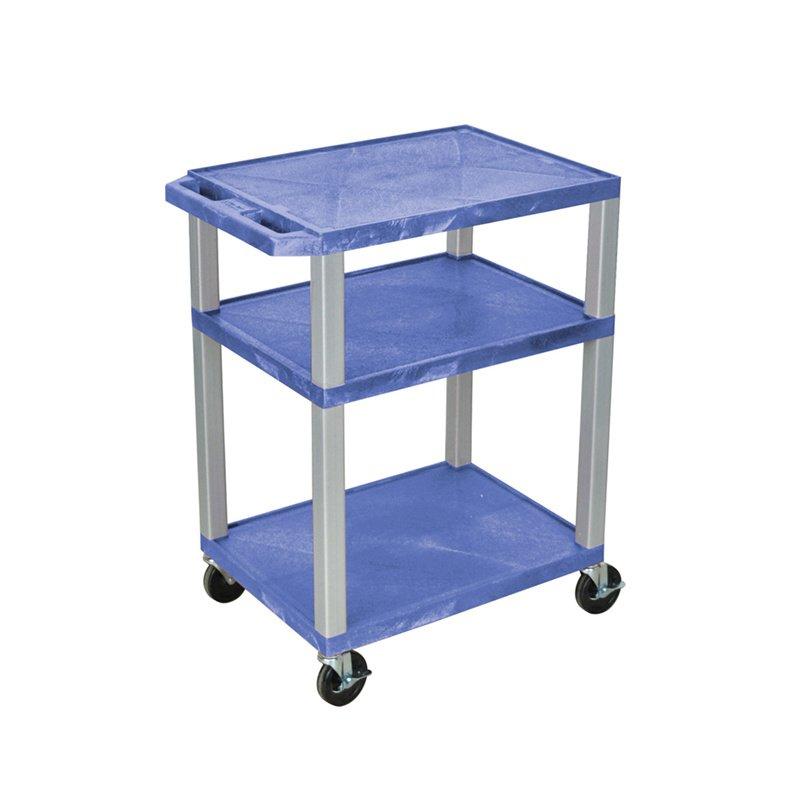 Luxor Tuffy Blue 3 Shelf AV Cart with Nickel Legs & Electric (WT34BUE-N)