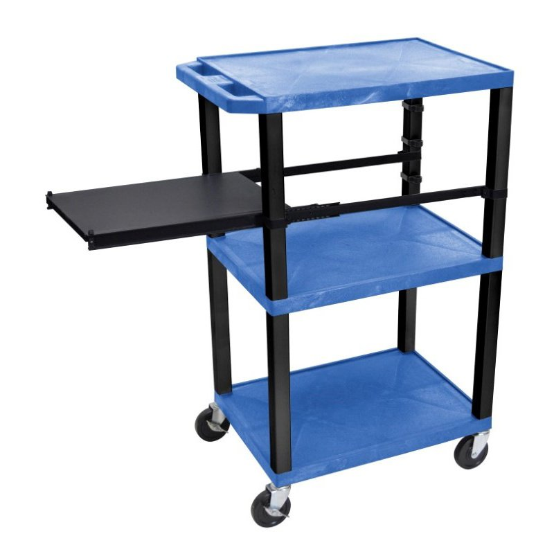 Luxor Tuffy Blue 3 Shelf with Black Legs & Side Pull-out Shelf & Electric (WTPSP42BUE-B)