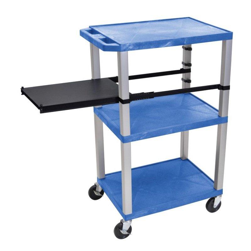Luxor Tuffy Blue 3 Shelf with Nickel Legs & Black Side Pull-out Shelf & Electric (WTPSP42BUE-N)
