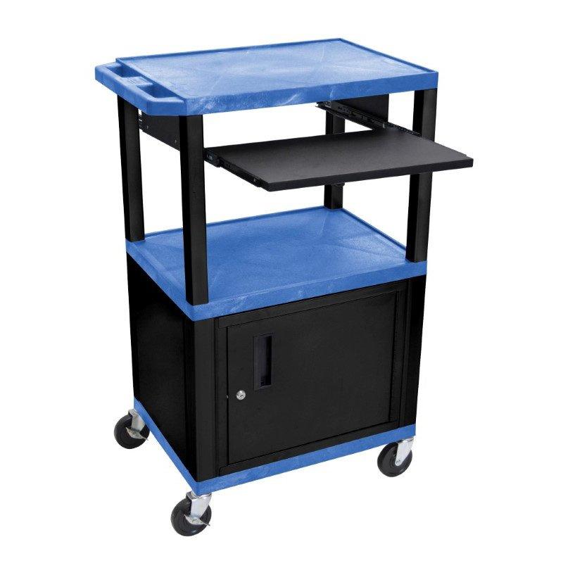 "Luxor Tuffy Blue 42"" 3 Shelf Cart with Black Pullout Shelf - Cabinet - Legs & Electric (WTPS42BUC2E-B)"