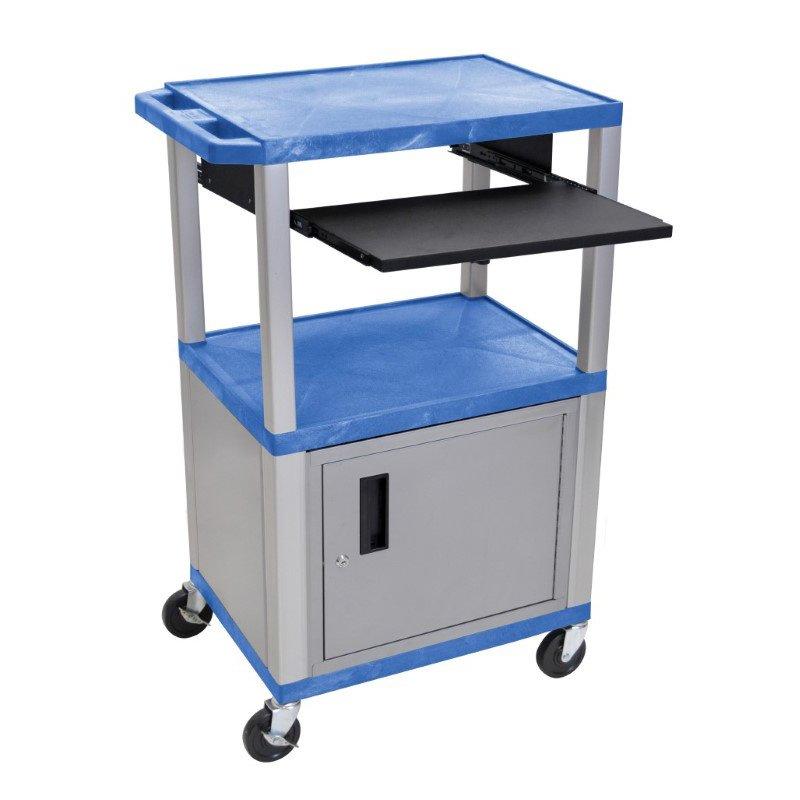 "Luxor Tuffy Blue 42"" 3 Shelf Cart with Black Pullout Shelf & Nickel Cabinet - Legs & Electric (WTPS42BUC4E-N)"