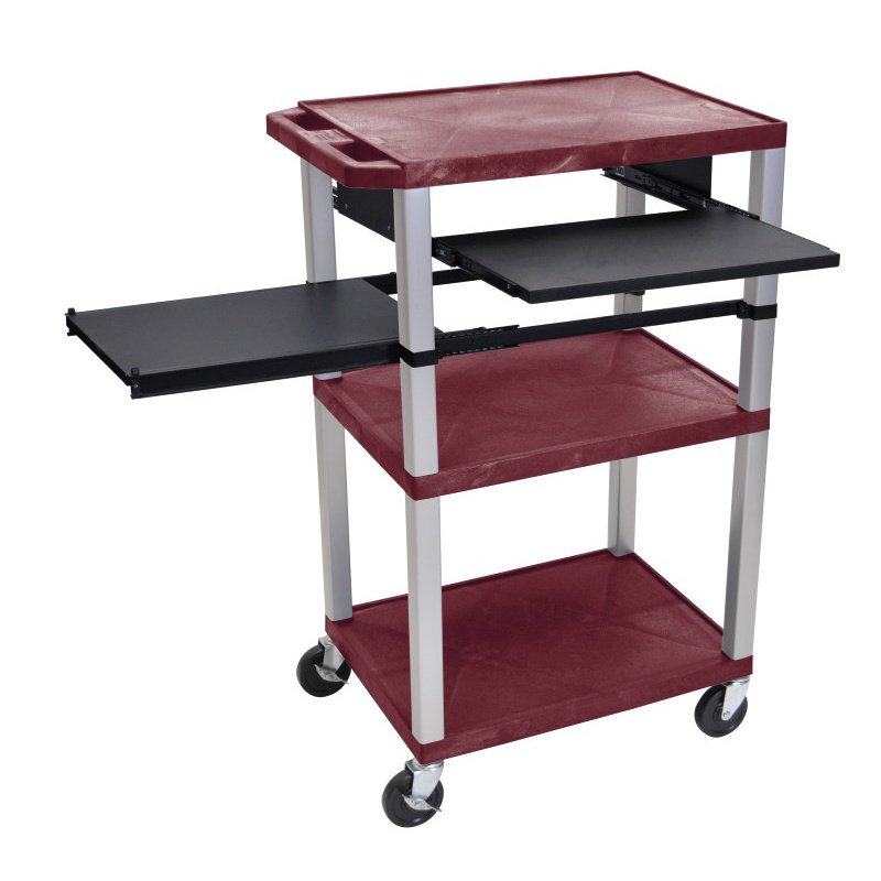 Luxor Tuffy Burgundy 3 Shelf with Nickel Legs & Black Front & Side Pull-out Shelves & Electric (WTPSLP42BYE-N)