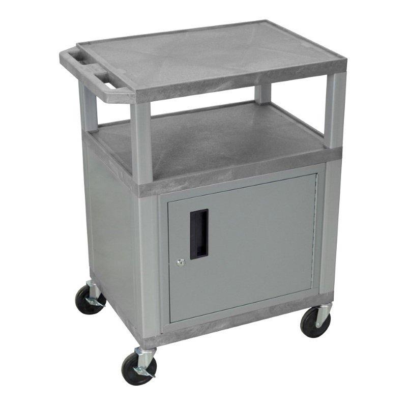 Luxor Tuffy Gray 3 Shelf AV Cart with Nickel Legs - Cabinet & Electric (WT34GYC4E-N)