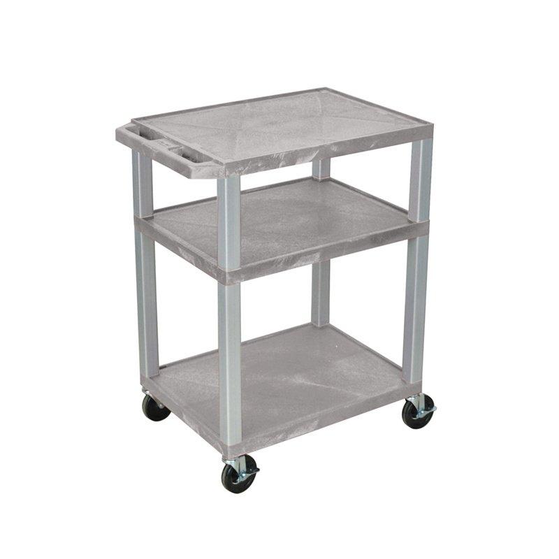 Luxor Tuffy Gray 3 Shelf AV Cart with Nickel Legs & Electric (WT34GYE-N)