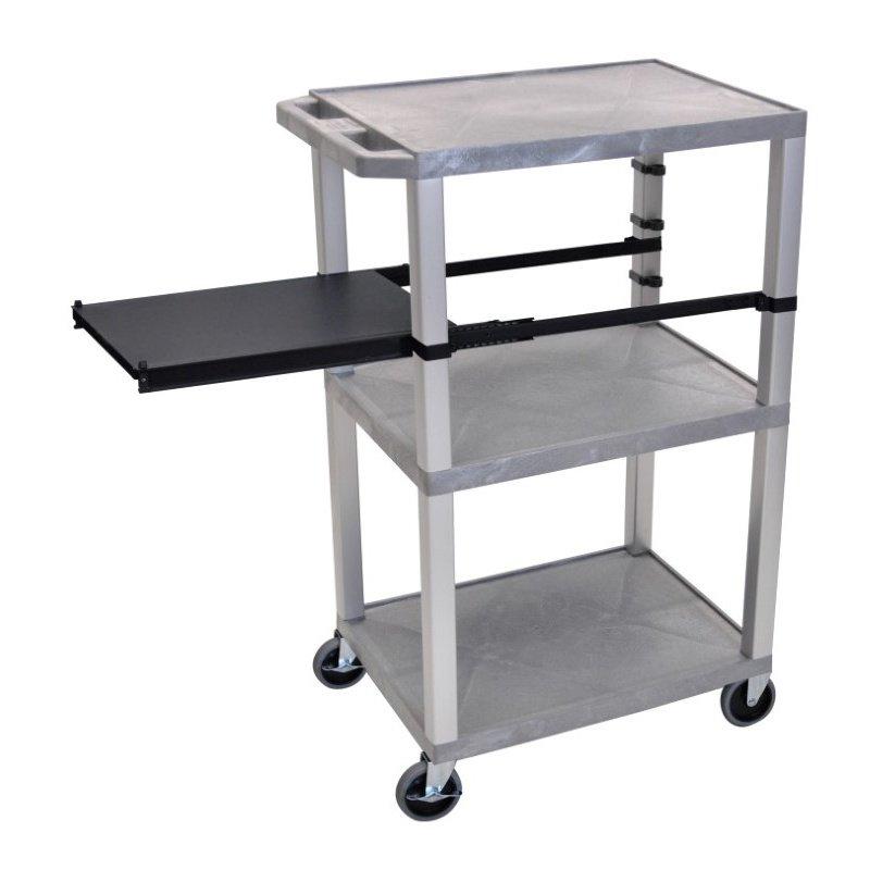 Luxor Tuffy Gray 3 Shelf with Nickel Legs & Black Side Pull-out Shelf & Electric (WTPSP42GYE-N)