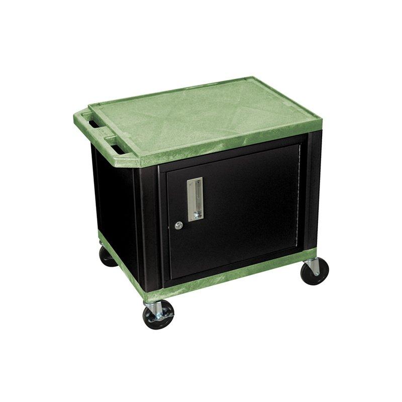 Luxor Tuffy Green 2 Shelf AV Cart with Black Cabinet & Electric (WT26GC2E-B)