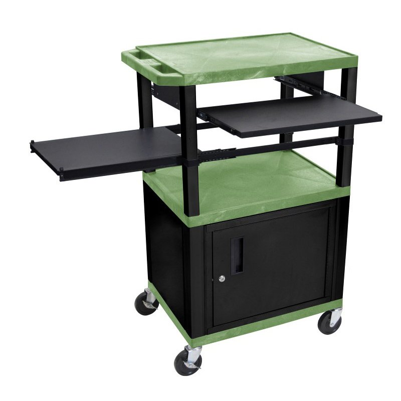 Luxor Tuffy Green 3 Shelf with Black Legs - Cabinet & Front & Side Pull-out Shelves & Electric (WTPSLP42GC2E-B)