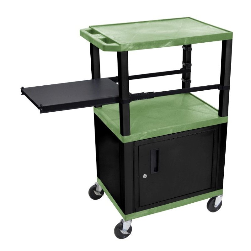 Luxor Tuffy Green 3 Shelf with Black Legs - Cabinet & Side Pull-out Shelf & Electric (WTPSP42GC2E-B)