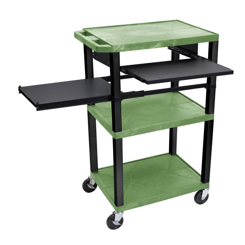 Luxor Tuffy Green 3 Shelf with Black Legs - Front & Side Pull-out Shelves & Electric (WTPSLP42GE-B)